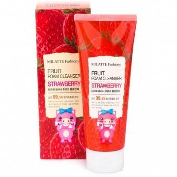 Пенка для умывания с клубникой MILATTE Fashiony Fruit Foam Cleanser Strawberry - фото 4934
