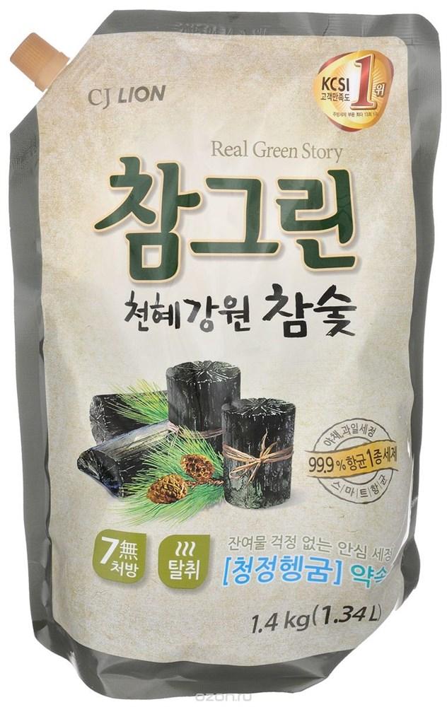 Средство для посуды, фруктов, овощей Древесный Уголь Chamgreen, CJ LION сменная упаковка 1350 мл - фото 7634