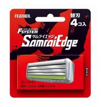 """Запасные кассеты с тройным лезвием д/станка Feather F-System """"Samurai Edge"""" 4шт - фото 7702"""