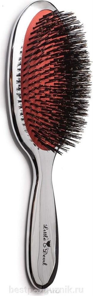 """Щётка для волос массажная c натуральной щетиной и зеркальным дизайном """"Little Devil"""" 21,5см - фото 8949"""