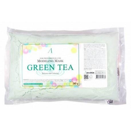Альгинатная маска для чувствительной, проблемной кожи Anskin Green Tea Modeling mask refill 240g (пакет) - фото 9404
