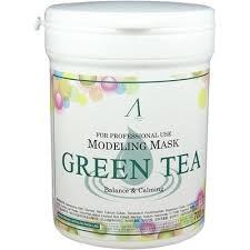 Альгинатная маска для чувствительной, проблемной кожи Anskin Green Tea Modeling mask 700ml (банка) - фото 9591
