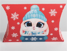 Коробка сборная фигурная «Веселого нового года», КРАСНАЯ зайка 19 × 14 × 4 см   4381659