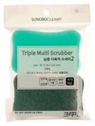 Скраббер-мочалка для мытья посуды набор ( 11,5 х 7,5 х 2,5) TRIPLE MULTI SCRUBBER 2PC  2шт