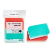 Скраббер-мочалка для мытья посуды SB набор ( 11,5 х 7,5 х 2,5) TRIPLE FILTER SCRUBBER 2PC  2шт