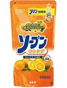 Жидкость для мытья посуды овощей и фруктов Апельсин KANEYO 500 мл (запасной блок)