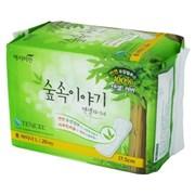 Прокладки гигиенические на каждый день с эвкалиптом 20шт (длинные) Yejimin TENCEL Panty Liner 20P (Long) (зеленая упаковка) 17,5 см